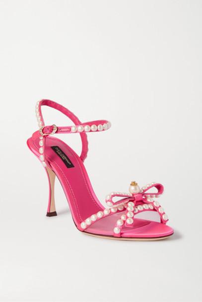 Dolce & Gabbana - Faux Pearl-embellished Mesh-trimmed Satin Sandals - Pink