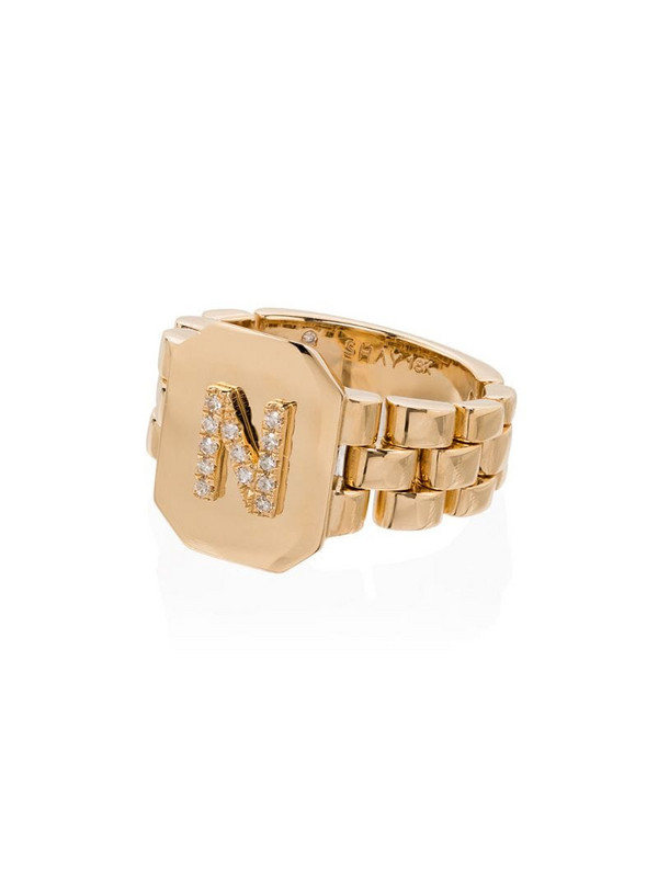 SHAY 18kt gold diamond-embellished N initial ring
