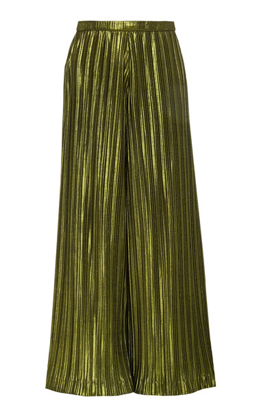 Christian Siriano High-Waisted Wide-Leg Plissé Pants Size: 2 in green