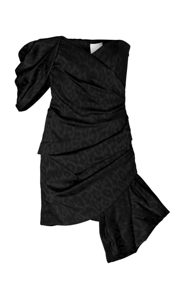 Acler Tomsey Bow-Detailed Leopard-Print Taffeta Mini Dress in black