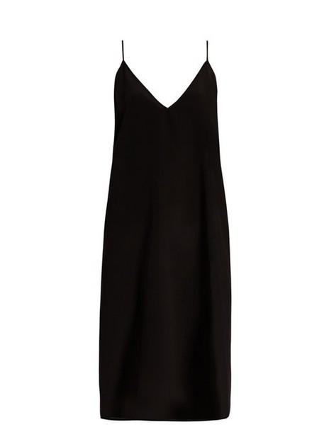 Raey - V Neck Silk Slip Dress - Womens - Black