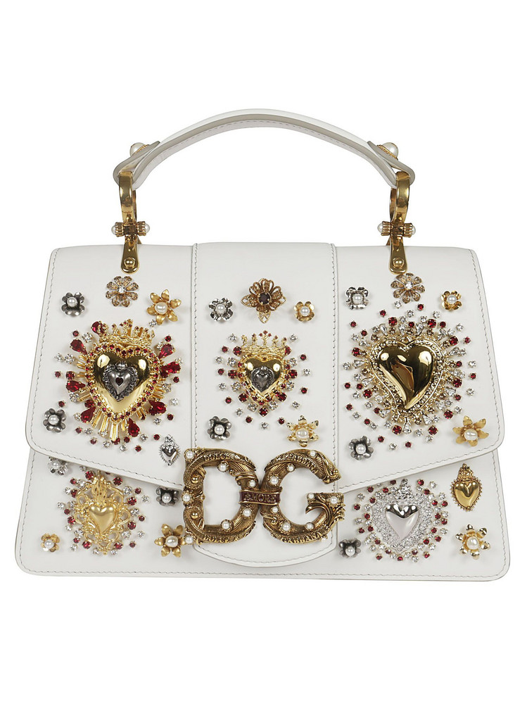 Dolce & Gabbana Heart Embellished Tote in white