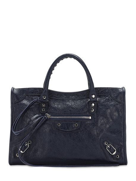 BALENCIAGA Sm Classic City Leather Top Handle Bag in navy