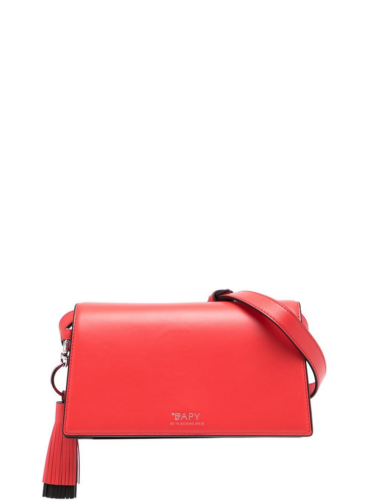 BAPY BY *A BATHING APE® BAPY BY *A BATHING APE® logo tasseled leather shoulder bag - Red