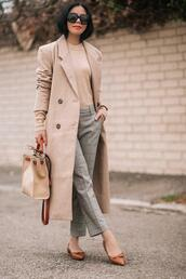 hallie daily,blogger,coat,skirt,bag,dress,pants,sweater,jacket