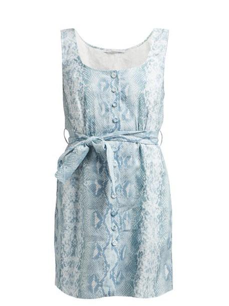 Emilia Wickstead - Python Print Belted Linen Dress - Womens - Blue Print