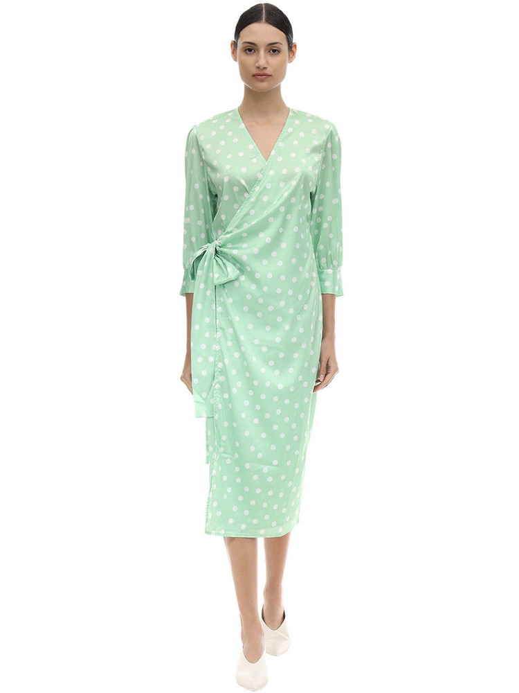 AÉRYNE Cowry Printed Satin Wrap Dress in green / white