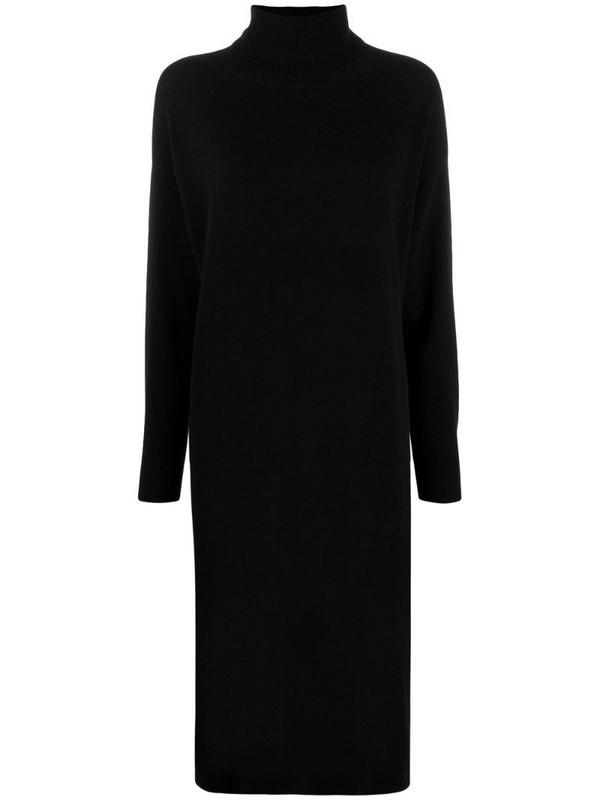 N.Peal elongated roll-neck dress in black