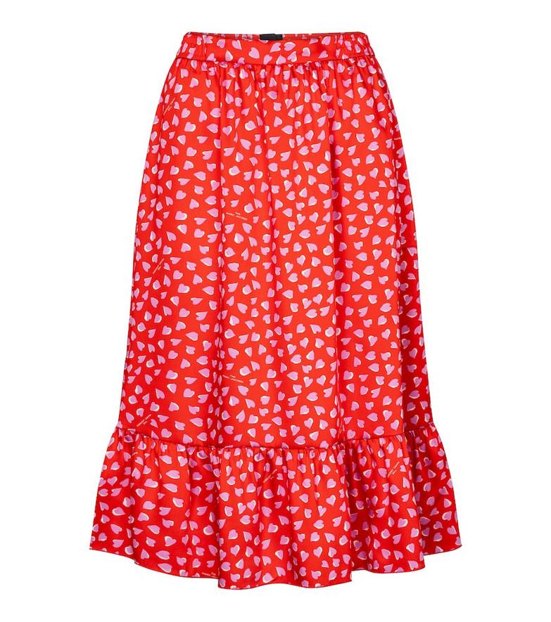 Marc Jacobs Heart-print midi skirt in red