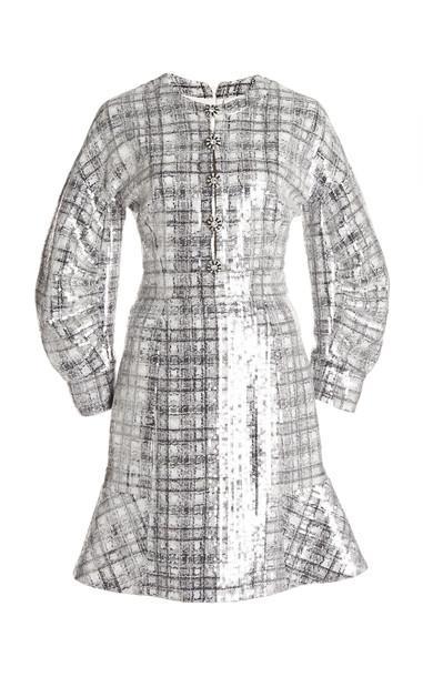 Huishan Zhang Agatha Embellished Plaid Dress in silver