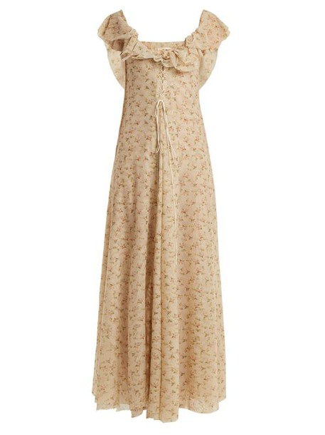 Brock Collection - Dora Floral Print Tulle Dress - Womens - Beige Print