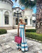 dress,maxi dress,flat sandals,pink bag,summer dress
