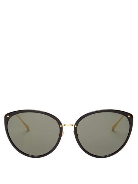 Linda Farrow - Angelica Cat-eye Acetate And Metal Sunglasses - Womens - Black Gold