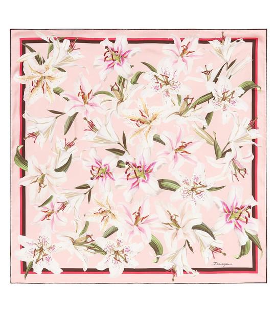 Dolce & Gabbana Floral silk scarf in pink
