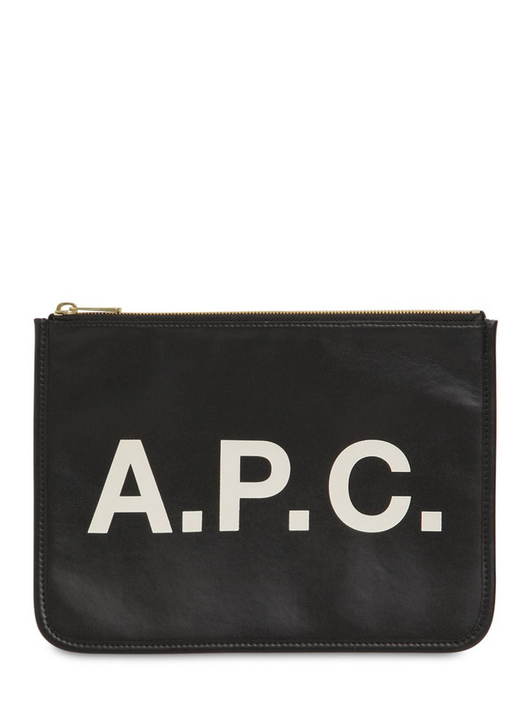 A.P.C. Logo Printed Faux Leather Pouch in black