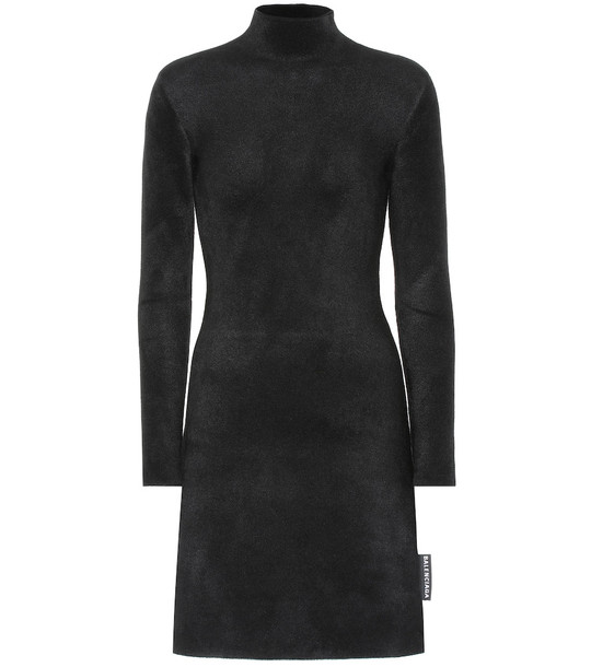 Balenciaga Fleece minidress in black