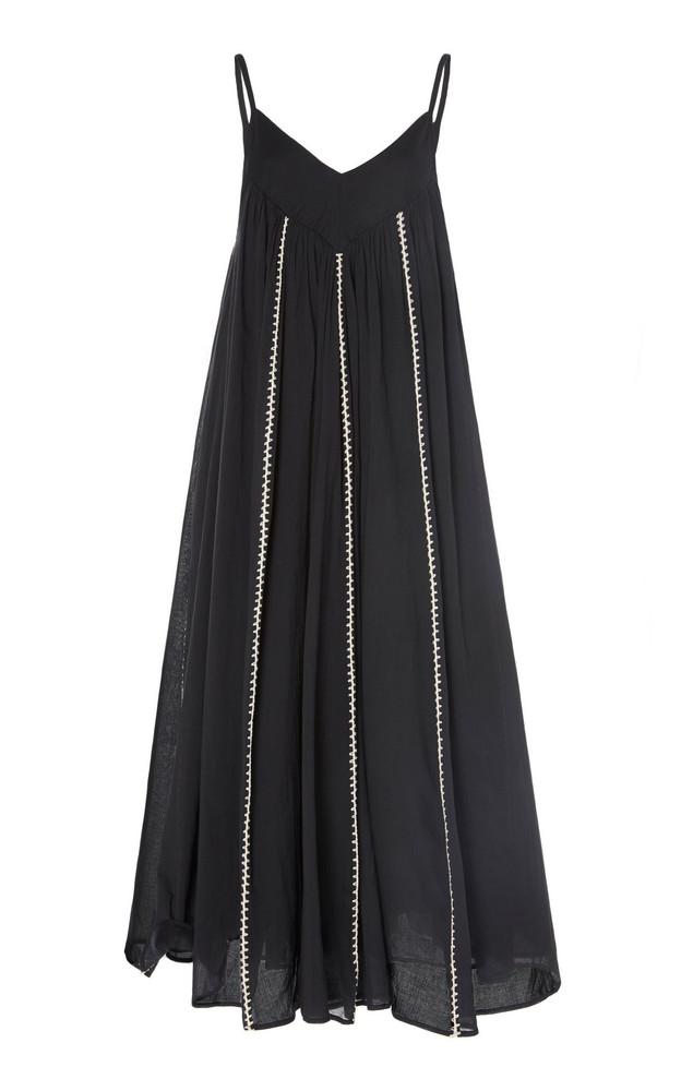 Anaak Violeta Embroidered Cotton-Voile Midi Dress in black