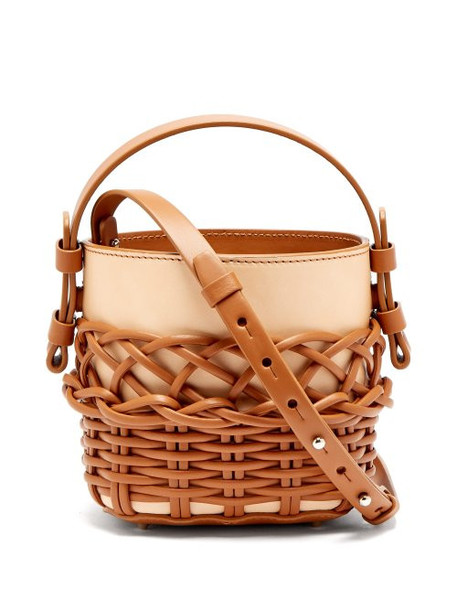 Nico Giani - Adenia Mini Woven Leather Bucket Bag - Womens - Tan