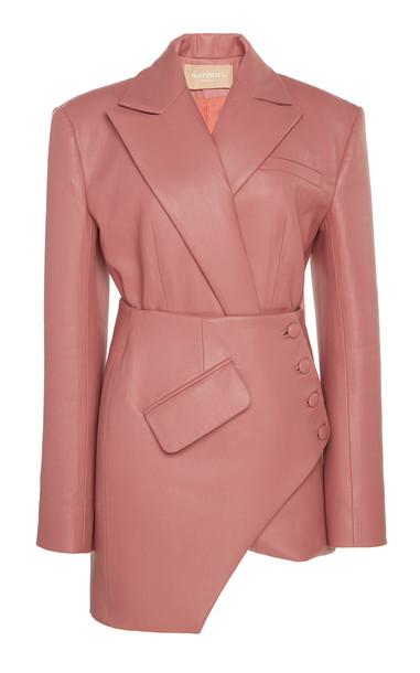 MATÉRIEL Faux Leather Asymmetrical Corset Blazer in pink