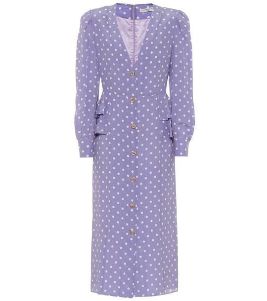 Alessandra Rich Polka-dot silk midi dress in purple