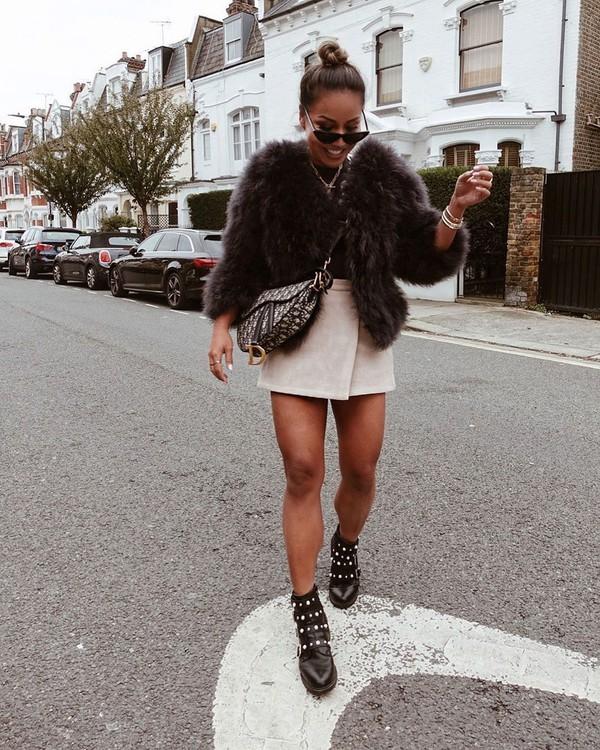 shoes ankle boots black boots mini skirt wrap skirt faux fur coat dior bag