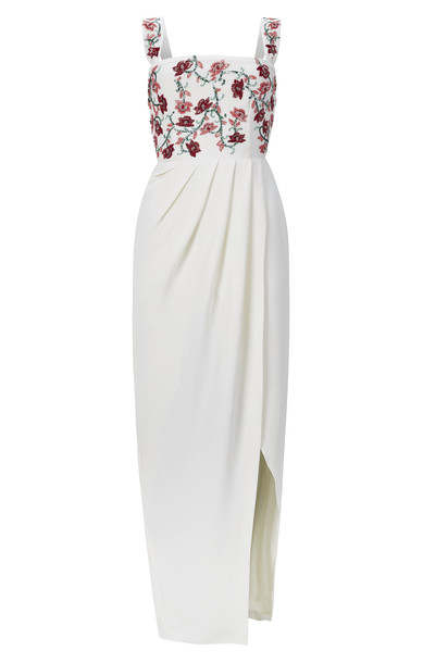 Razan Alazzouni Embellished Crepe Gown in white