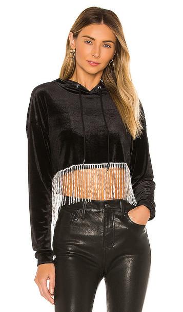 superdown Abigail Rhinestone Hem Sweatshirt in Black