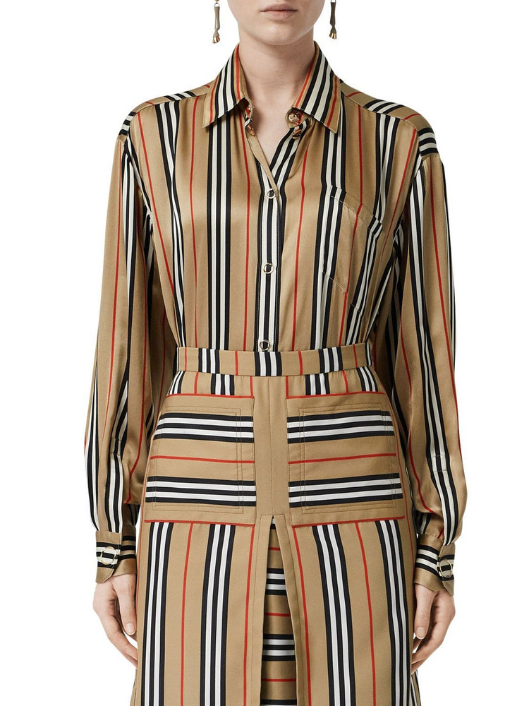BURBERRY Vertical Check Printed Silk Twill Shirt in beige