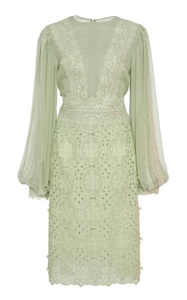 Costarellos Embroidered Guipure Lace Silk-Chiffon Dress in green