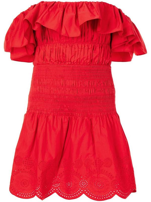 Self-Portrait off-shoulder cotton mini dress in red