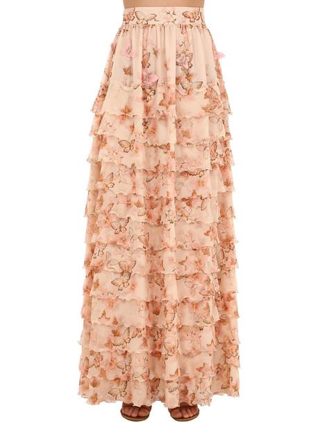 LUISA BECCARIA Printed Tiered Silk Georgette Skirt in pink