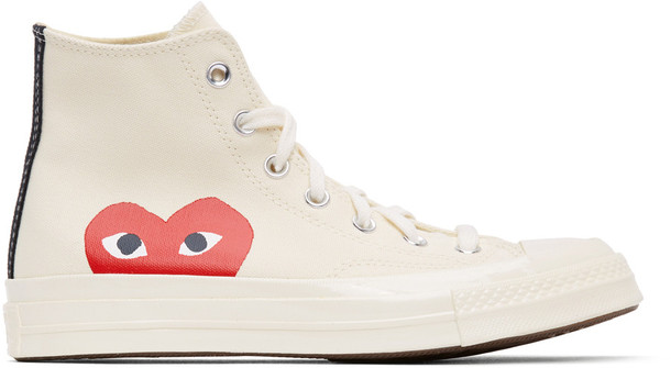 Comme des Garçons Play Off-White Converse Edition Half Heart Chuck 70 High Sneakers in beige