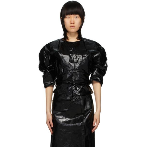 Lemaire Black Coated Linen Canvas Shirt Jacket
