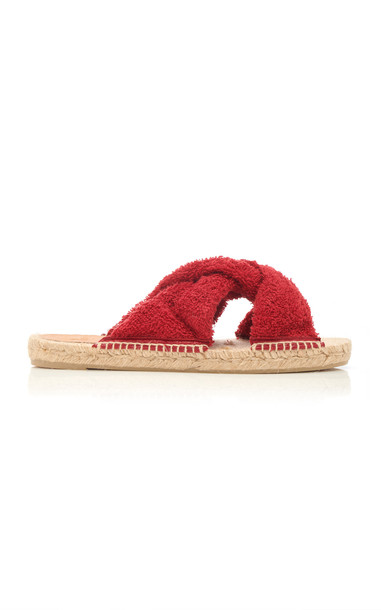 Castañer Pao Terrycloth Slides in red