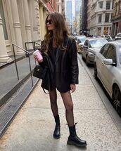 jacket,black leather jacket,black boots,tights,black bag,mini dress