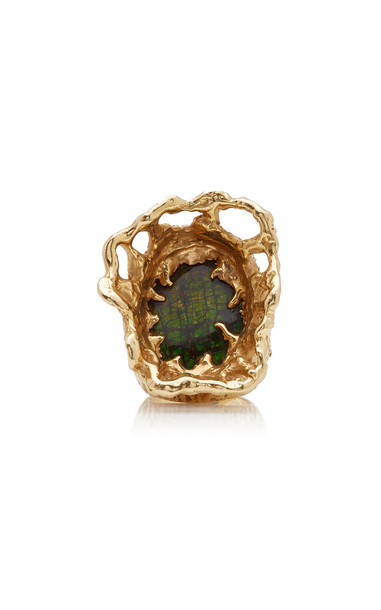 Karry Berreby 18K Yellow Gold and Opal Ring in green