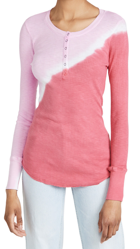 SUNDRY Fitted Henley in pink