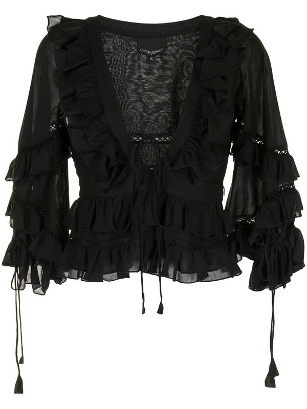 Cynthia Rowley Stella tie-front tiered blouse in black