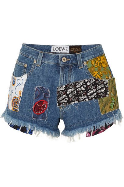 Loewe - Paula's Ibiza Patchwork Printed Voile And Denim Shorts - Indigo