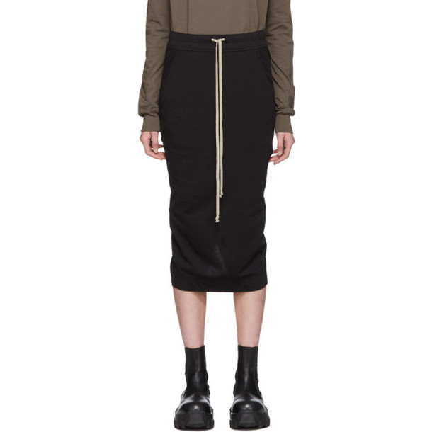 Rick Owens Drkshdw Black Jersey Soft Pillar Skirt