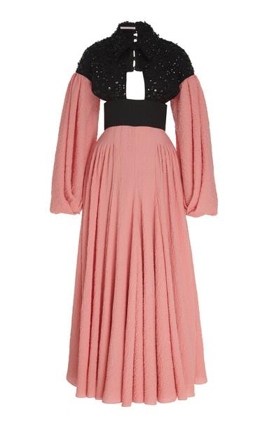 Emilia Wickstead Cutout Cotton-Blend Dress Size: 8 in pink