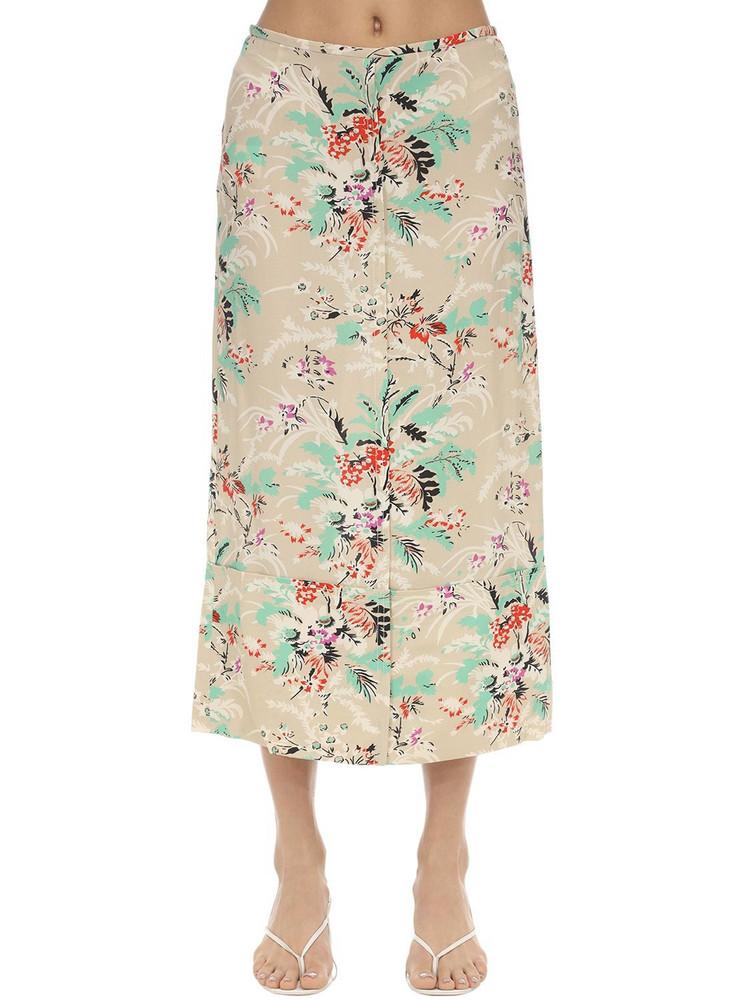 COLVILLE Flower Print Midi Skirt