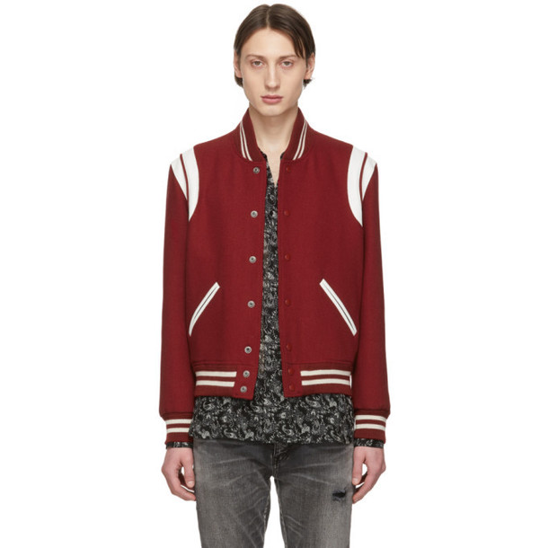 Saint Laurent Red Wool Teddy Bomber Jacket