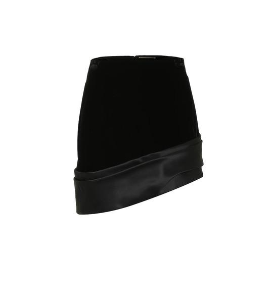 Saint Laurent Satin-trimmed velvet miniskirt in black