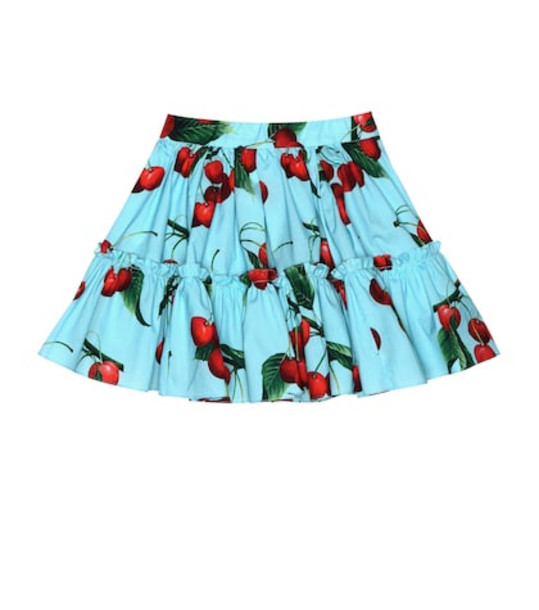 Dolce & Gabbana Kids Exclusive to Mytheresa – cherry printed cotton skirt in blue