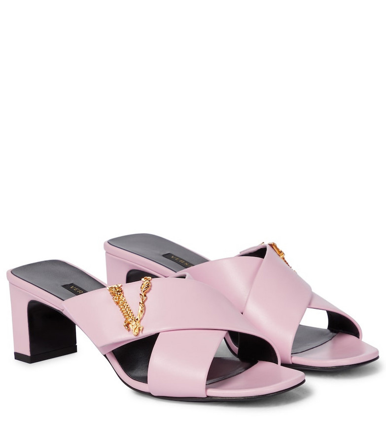Versace Virtus leather sandals in pink