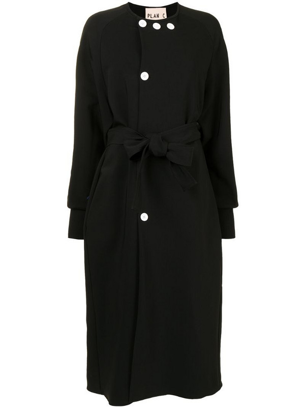 Plan C belted single-breasted coat in black