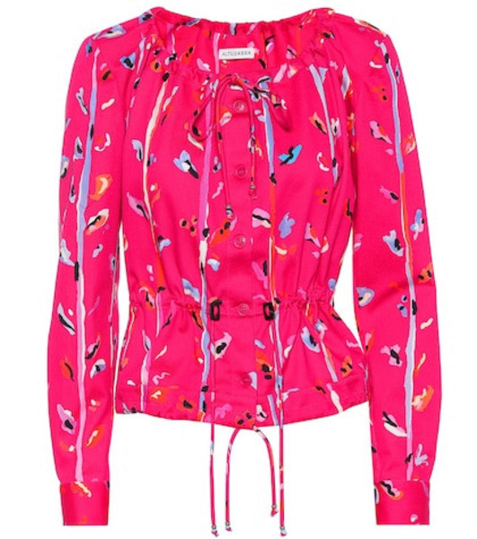 Altuzarra Agata printed stretch cotton jacket in pink