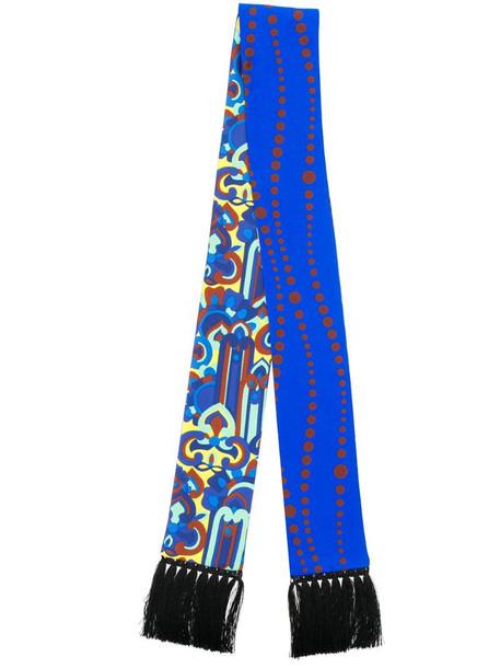 La Doublej skinny printed scarf in blue