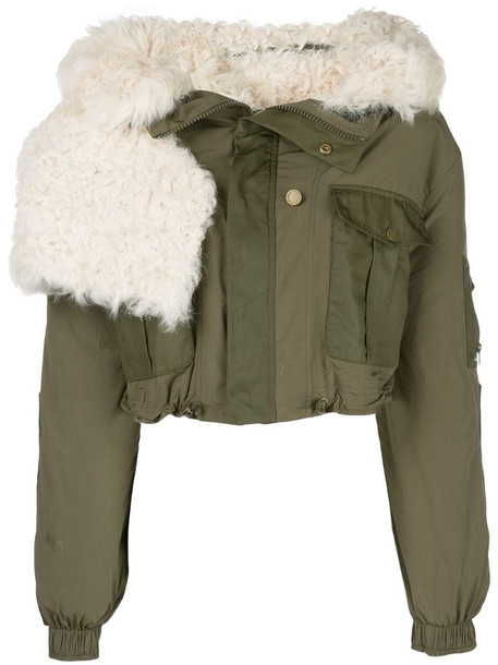 Monse cropped bomber jacket in green